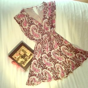 Lush pink & gray paisley & flowery dress Sz XS EUC